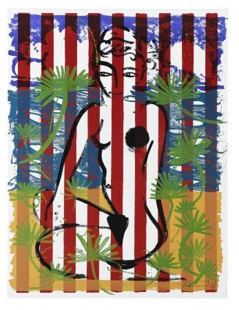 Siebdruck Szczesny - Nude on Red Stripes