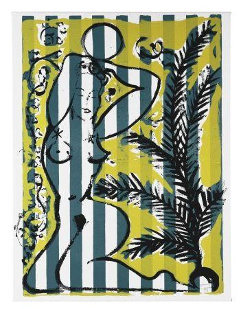 Siebdruck Szczesny - Nude with Palms on Green Stripes