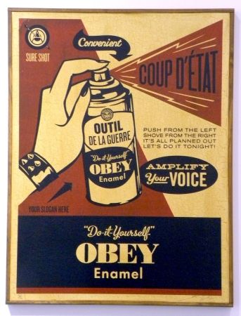 Siebdruck Fairey - Obey Coup D'Etat (on wood)