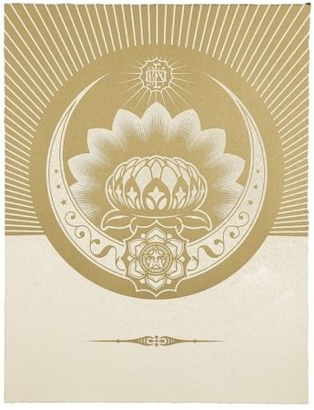 Siebdruck Fairey - Obey Lotus Crescent (White / Gold)