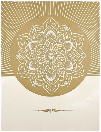 Siebdruck Fairey - Obey Lotus Diamond (White / Gold)