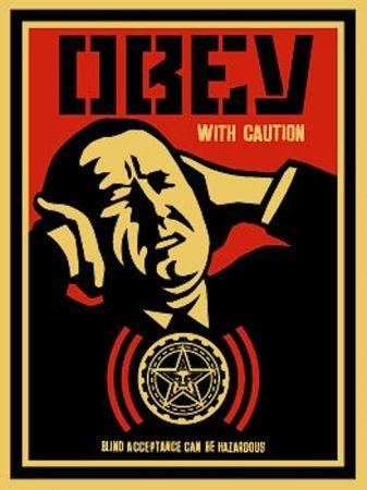 Siebdruck Fairey - Obey with Caution