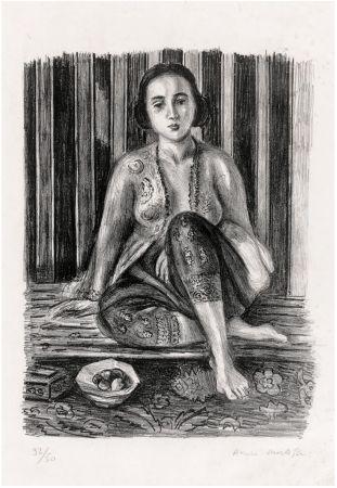 Lithographie Matisse - Odalisque à la coupe de fruits. Lithographie (1925).