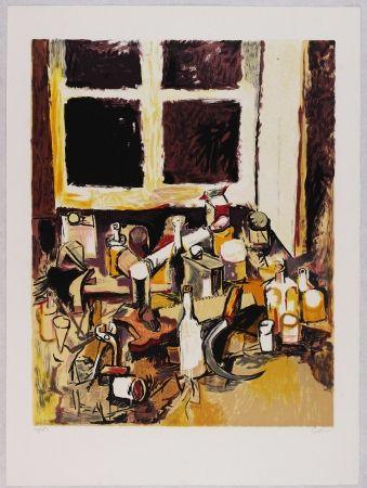 Lithographie Guttuso - Oggetti sul tavolo e finestra di sera