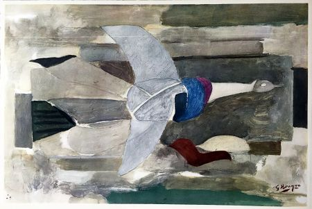 Heliogravüre Braque - Oiseau en vol (1953)