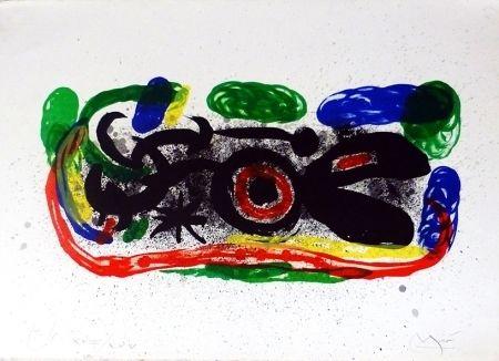 Lithographie Miró - Oiseau mangeant du feu
