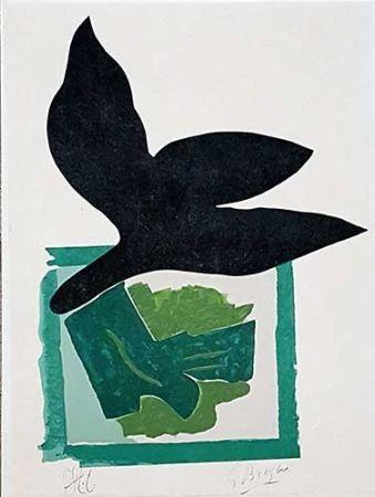 Holzschnitt Braque - Oiseau noir sur fond vert