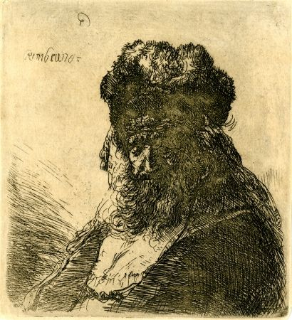 Stich Rembrandt - 	Old Bearded Man in a High Fur Cap, with Eyes Closed, c. 1635