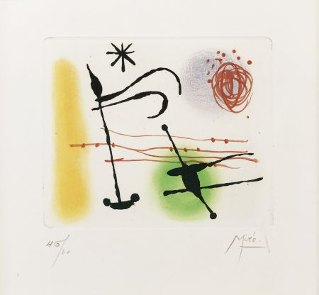 Radierung Und Aquatinta Miró - ONE PLATE (FROM LA BAGUE D'AURORE SUITE)