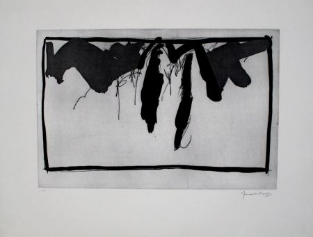 Radierung Und Aquatinta Hernandez Pijuan - Paisatge Amb Xiprers Ii / Landscape With Cypresses Ii