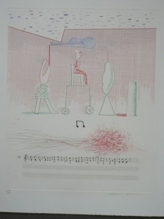 Radierung Hockney - Parade (from the blue guitar)