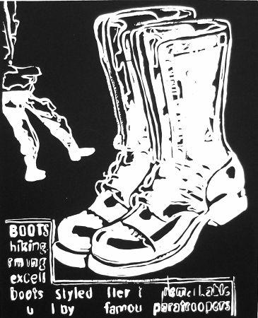 Siebdruck Warhol - Paratrooper Boots Negative