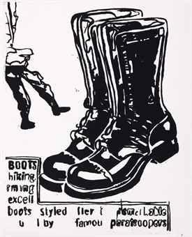 Siebdruck Warhol - Paratrooper Boots Positive