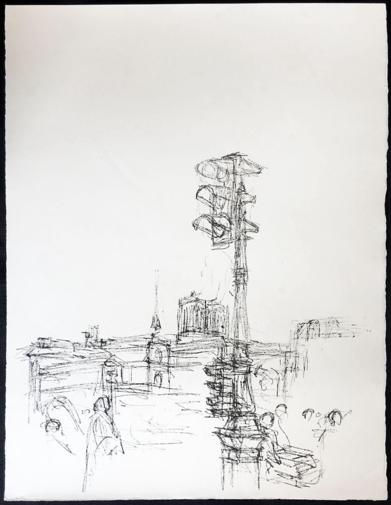 Lithographie Giacometti - Paris Sans Fin. 75ème planche (1961). 1964. Tirage à part à 20 ex.