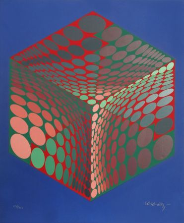 Siebdruck Vasarely - Parmenide (Red, Green, & Blue)