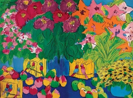 Lithographie Ting - Parrots and flowers