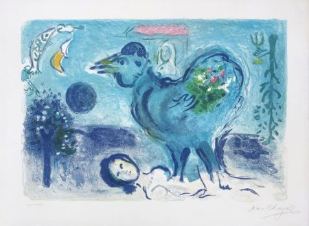 Lithographie Chagall - Paysage au coq