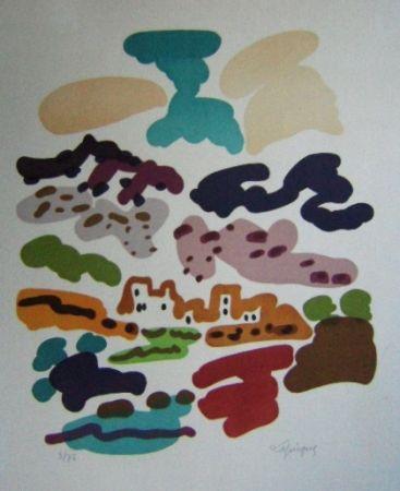 Lithographie Lapicque - Paysage en Espagne