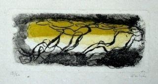 Radierung Und Aquatinta Fautrier - Paysage Jaune Et Violet