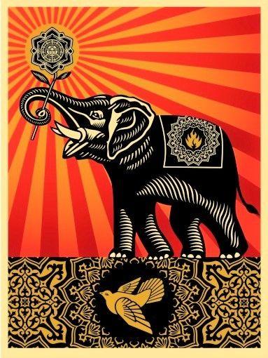 Multiple Fairey - Peace Elephant