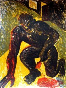 Lithographie Barcelo - Peintre agenouillé
