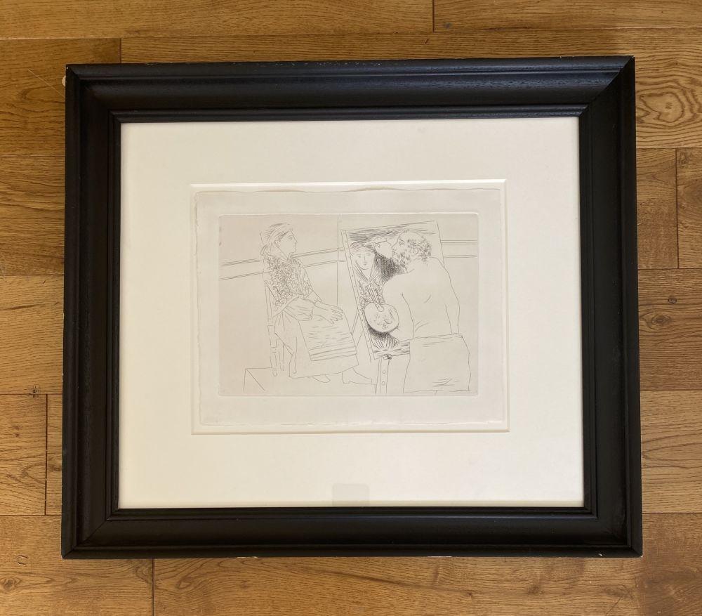 Stich Picasso - Peintre Chauve devant son Chevalet