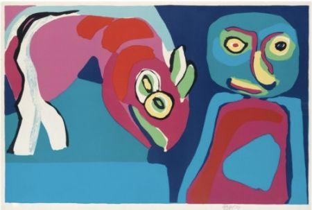 Lithographie Appel - Personnage et cheval