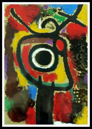 Pochoir Miró - PERSONNAGE ET OISEAU