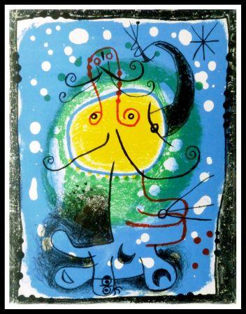 Lithographie Miró - PERSONNAGE SUR FOND BLEU