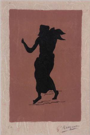 Lithographie Braque - Personnage sur fond rose