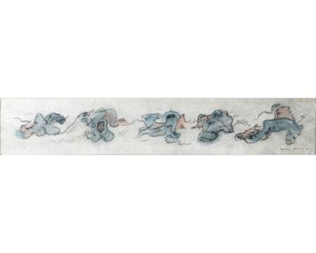 Keine Technische Tanning - PERSONNAGES. Aquarelle, crayon gras sur papier Japon nacré