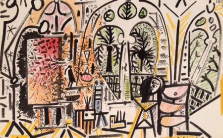 Lithographie Picasso (After) - Picasso's Sketchbook No 15 date 1/11/1955