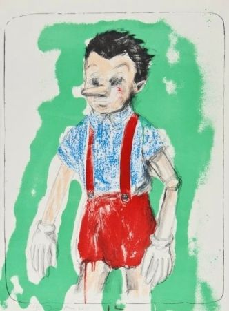 Lithographie Dine - Pinocchio Coming From The Green