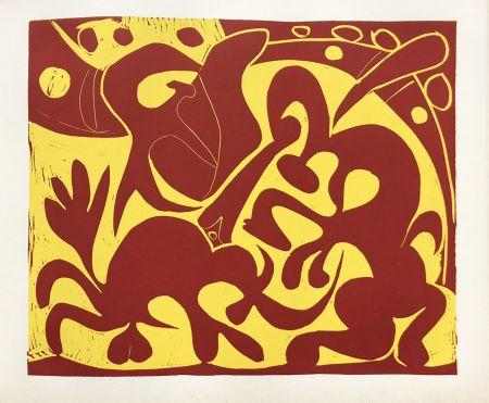 Linolschnitt Picasso (After) - Pique Rouge et Jaune