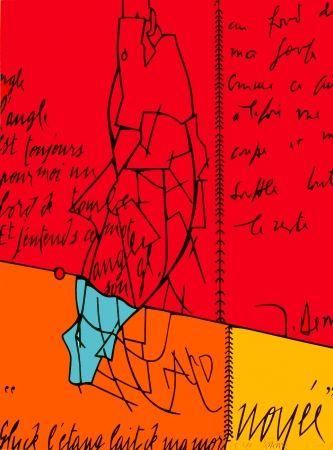 Lithographie Adami - Placard Derrida