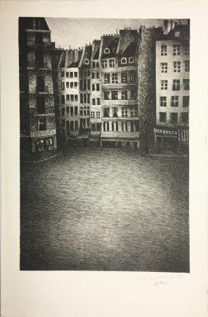 Lithographie Avati - PLACE MAUBERT (1951)