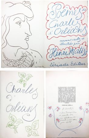 Illustriertes Buch Matisse - POÈMES DE CHARLES D'ORLÉANS manuscrits et illustrés par Henri Matisse (1950). Dédicace avec dessin original aux pastels de couleur.