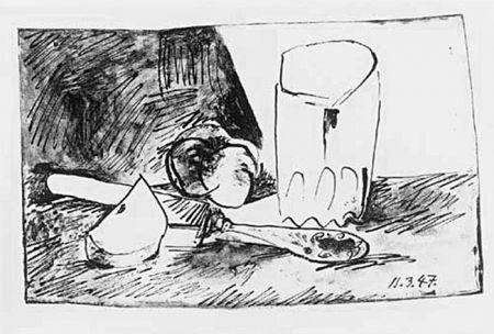 Lithographie Picasso - Pommes, Verres et Couteau