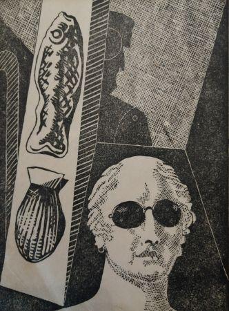 Holzschnitt De Chirico - Portrait d'Apollinaire