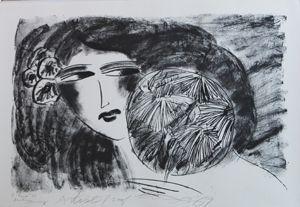 Lithographie Ting - Portrait De Femme