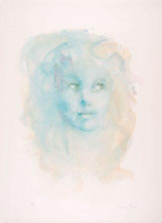 Lithographie Fini - Portrait imaginaire bleu