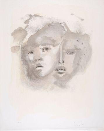 Lithographie Fini - Portrait imaginaire brun