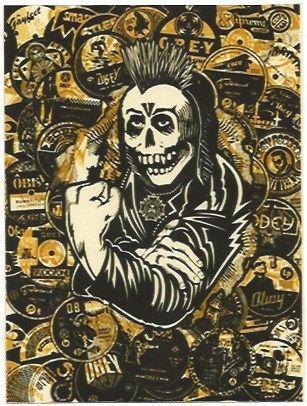 Siebdruck Fairey - Psycho Posse Gold