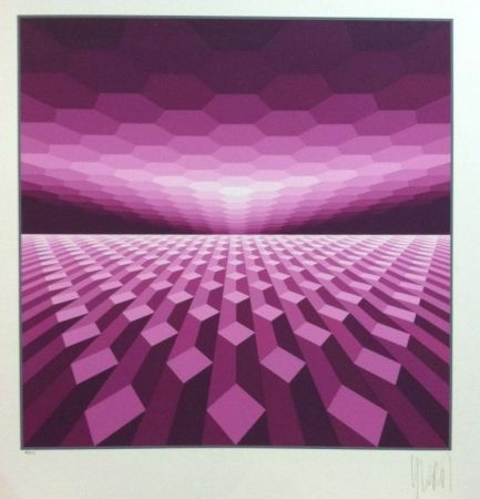 Siebdruck Yvaral - Purple horizon