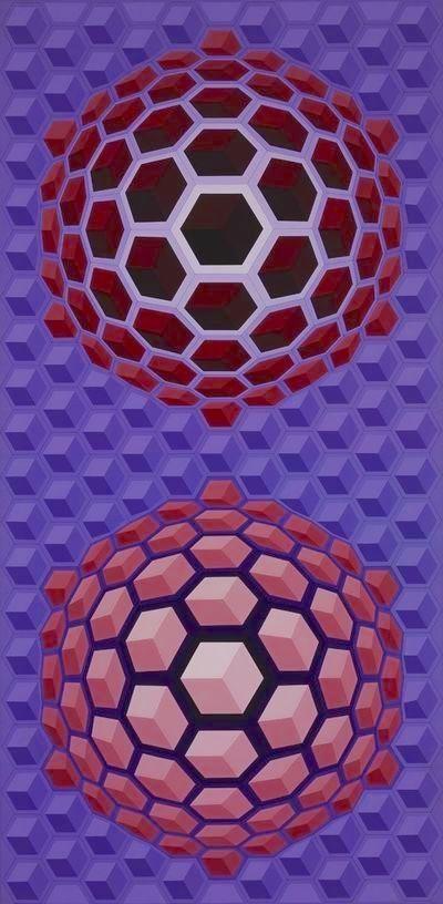Multiple Vasarely - Purple long