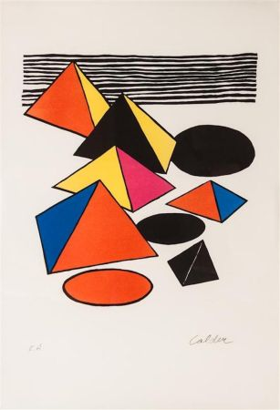 Lithographie Calder - Pyramids And Circles