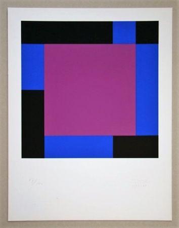 Siebdruck Bill - Quadrat in gegenläufigen Reflexionen
