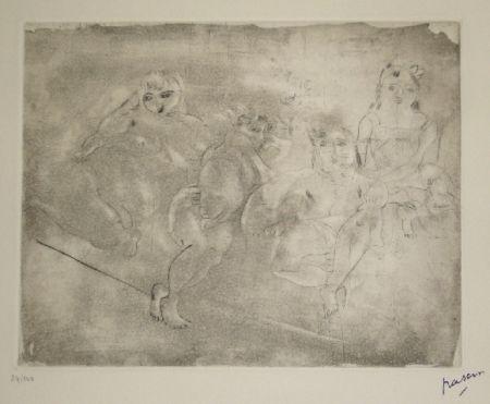 Aquatinta Pascin - Quatre femmes au divan