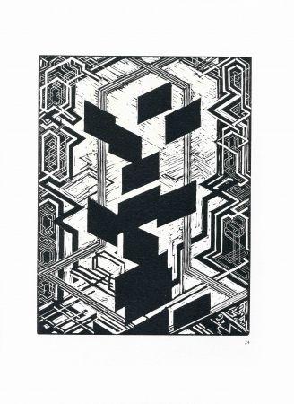 Holzschnitt Kupka - Quatre histoires de blanc et de noir.
