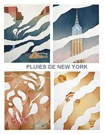 Radierung Und Aquatinta Folon - Rains of New York - Pluies de New York (complet suite)